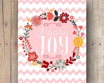 cadeau fête des mères pour maman - choisissez art mural joie imprimable - pépinière art fille - décoration de chambre bébé fille - bébé fille chambre d'enfant wall art citation
