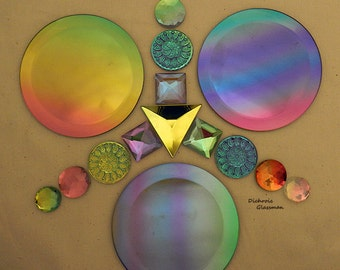 Custom 16 pc Dichroic Glass Bevels and Faceted Jewels ideal for stained glass applications - supplies set 0017