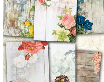 75% OFF SALE Wood & Flowers - Digital collage sheet C005 Printable Download Digital Tags Vintage Digital Image ATC Card Vintage Scrapbooking