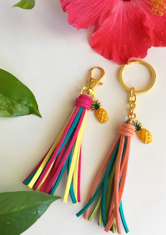 Tropical Mini Tassel with Pinapple Charm - Choice of Vibrant Color Faux Suede Leather Tassel on Goldtone Clip or Keyring
