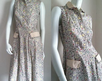 FINAL SALE --- Vintage 1950s Sleeveless Cotton Print Dress