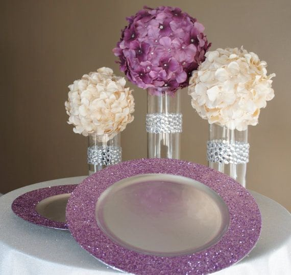 Diy Wedding Dishes: Glitter Charger Plates Glitter On Rim Only