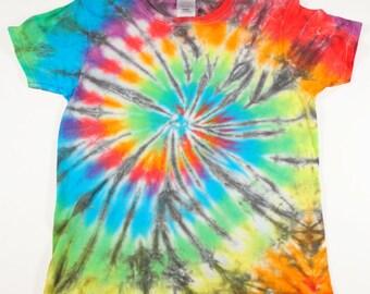 Tie Dye Rainbow Spiral w/ Black Tshirt