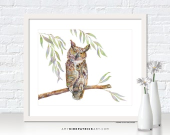 Horned Owl Painting, Owl Watercolor Painting, Owl Greeting Cards, Owl Original Painting, Owl Wall Decor, Owl Wall Art, Great Horned Owl