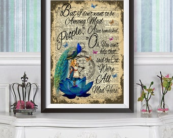 Alice in wonderland wall art, Alice and the Peacock, dictionary book artwork Poster, Lewis Carroll quote, Original illustration