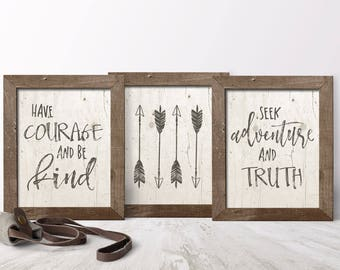Amazing Boho Nursery Wall Decor   Arrow Nursery Wall Decor   Have Courage And Be  Kind   Printable Nursery Art Set   Woodland Nursery Printable Set