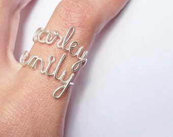 Silver name ring, White gold name ring, Custom Word Ring, emily and carley name rings /