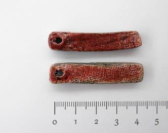 Ceramic bead, Raku, ethnic, rustic, red, 2 x