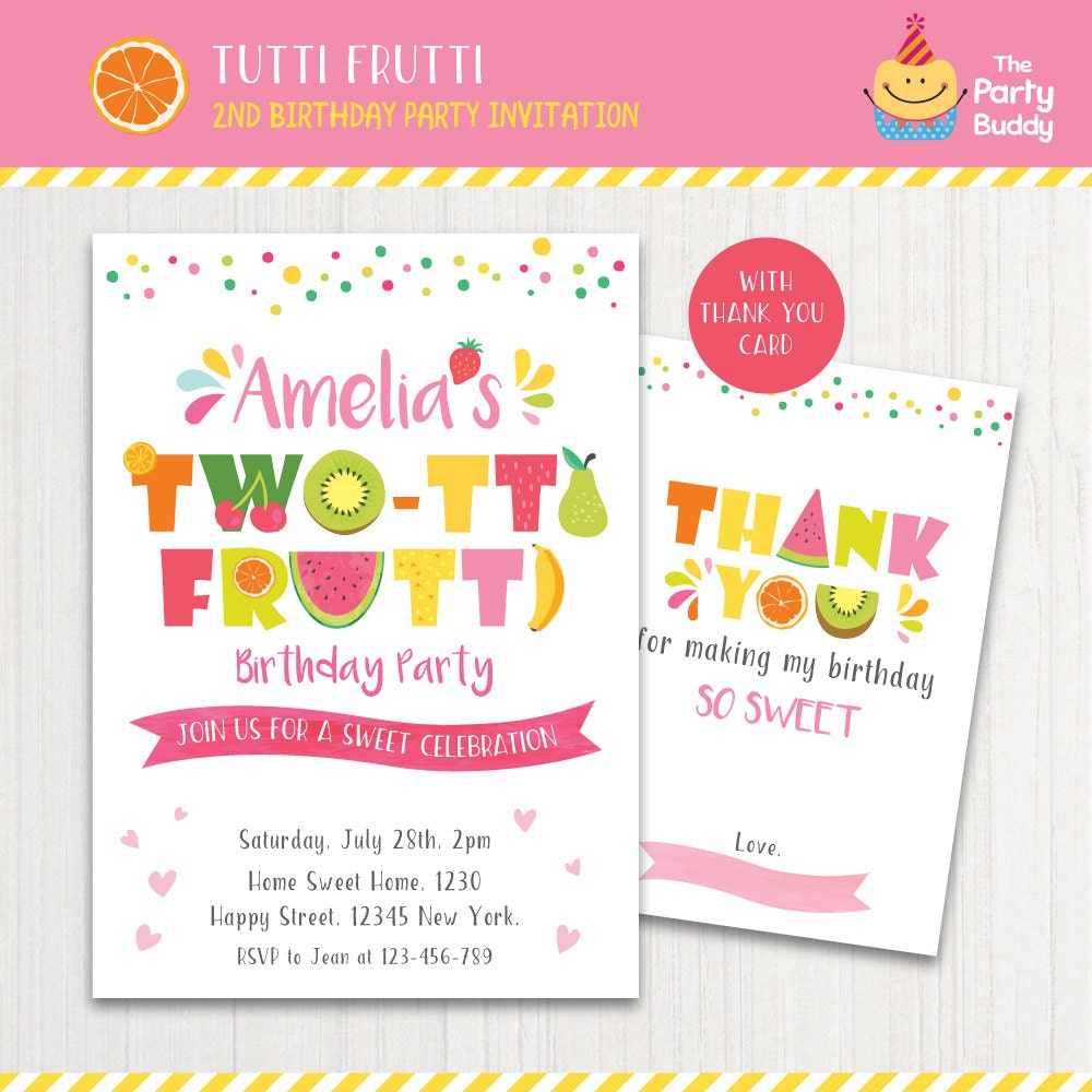 TWO-tti Frutti Party Invitation Printable Girls 2nd Birthday