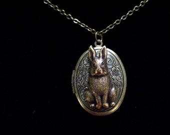 Rabbit Locket, Bunny Locket, Floral Locket, Brass Bunny Locket, Easter Rabbit, Oval Brass Locket Pendant, Antiqued Brass Rabbit Necklace