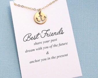 Friendship Necklace | Anchor Necklace, Best Friend Gift, Best Friend Birthday Gift, Best Friend Necklace, Friends Friendship Gift | F03