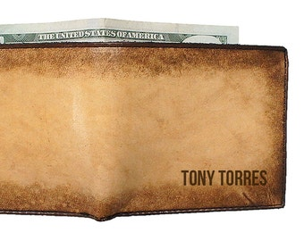 Engraved Leather Wallet - Personalized Wallet - Monogrammed Wallet
