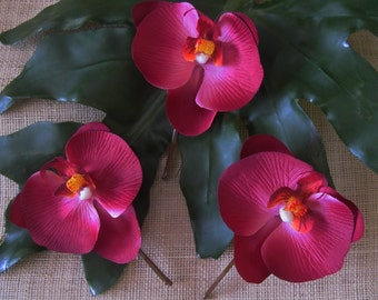 Hawaiian WINE Orchids SET OF 3 bobby pins flowers-hair clips - Weddings