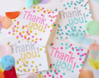 Carte de remerciement ensemble, Pack de 4, coloré avec carte Merci, Confetti, heureux de tous les âges, fluo excitant, remerciement, toutes les occasions