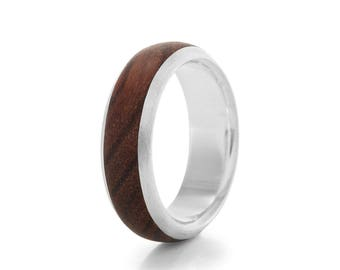 Native Chunk D-Shape - Silver and Wood Ring