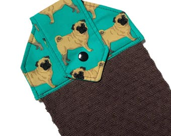 Pug kitchen towel, turquoise hanging hand towels, funny towels, dog hand towel, brown kitchen towels, spring towels, blue hand towels