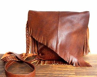 NATIVE Murka Handmade distressed Marble Brown Genuine Leather tassel fringe Artisan Boho X-Body Hippie Shoulder Bag Handbag Purse Messenger