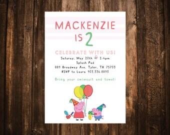 Peppa Pig Birthday Invitation; Simple; Printable or set of 10