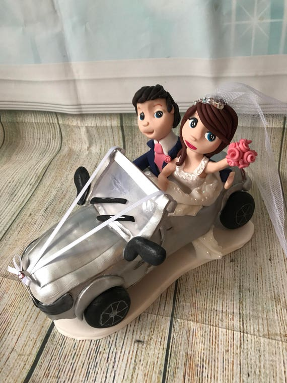 Fully personalised clay Wedding Cake Topper highly detailed and fully sculpted with wedding car - Keepsake - Bespoke Premium Service