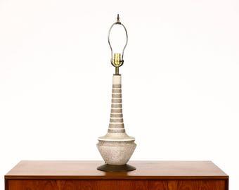 Vintage Mid Century Ceramic Table Lamp — Gray + White Striped Glaze — Brass Detail