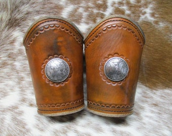 Cowboy Cuffs, SASS Classic Cowboy Outfit, Leather Roping Cuffs, Antique Pattern Roping Cuffs, Handmade and Aged Roping Cuffs