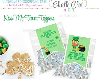 Kiss Me, I'm Irish St. Patrick's Day Favor Toppers, St Patricks Day - PERSONALIZED