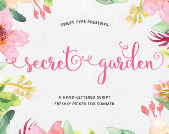 Secret Garden Hand-lettered Script, Calligraphy Cursive Font Download Commercial or personal
