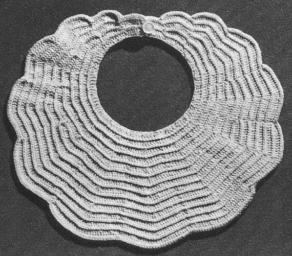 1951 Scalloped Baby Bib Vintage Crochet Pattern Pdf Instant