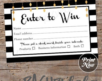 Raffle Card, printable prize entry ticket, win form, black and white with gold, instant digital download template, direct sales, mary kay