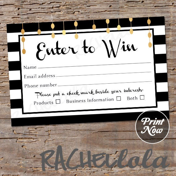 Raffle Card Printable Prize Entry Ticket Win Form Black And
