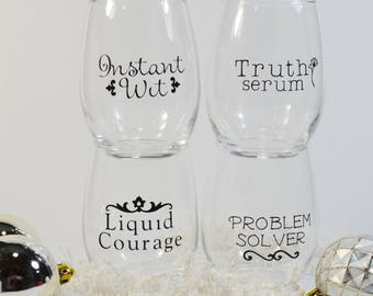 Stemless Wine Glass Set of FOUR - Funny wine glasses