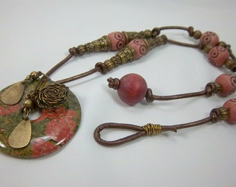 Boho Necklace, Unakite Focal, Moss Green, Mauve, Knotted Leather Necklace, Gypsy Style, Antique Bronze