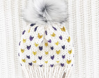 Faux Fur Pom Pom, Hand Knit Chunky Hat, Chunky Knit Fairisle Beanie, Knit Pom Pom Hat / / THE SKOL MINNEHAHA