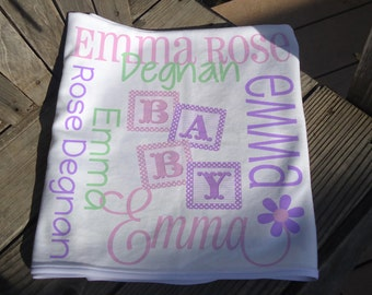 Personalized Baby Blanket with Blocks - Baby Receiving Blanket - Custom Baby Blocks Blanket - Newborn Swaddling Blanket - Baby Girl Gift