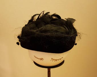 Vintage 1950's Black Velvet and Feather Pillbox Hat