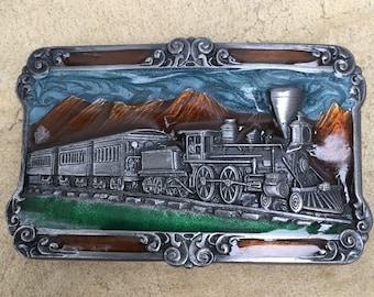 Siskiyou Buckle Co. Pewter and Enamel Belt Buckle ~ Railroad History ~ Train Culture ~ Rail Geek ~ 1984 ~