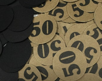 50th Birthday Confetti - 50, Black and Kraft Brown or Your Color Choice  3/4 Inch Circles