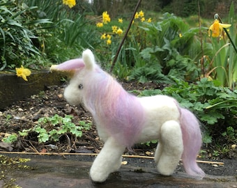 Unicorn, needle felted, collectable, ornament, decoration, sculpture, model