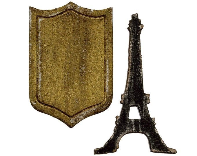 Tim Holtz Sizzix Movers and Shapers Magnetic Die Set - Mini EIFFEL TOWER & SHIELD 659443