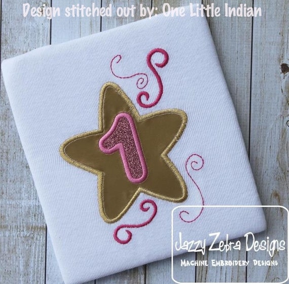 Star One Appliqué Embroidery Design - 1st birthday appliqué design - first birthday appliqué design - birthday appliqué - star appliqué