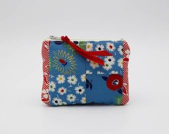 Blue and Red Patchwork Coin Purse