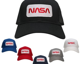 NASA Worm Red Text Embroidered Iron On Patch Snapback Trucker Mesh Cap (30-287-PM303-NASA)