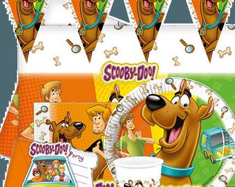 Scooby-Doo Party Supplies Birthday Tableware Dekoration Napkins Loot Bags Tablecover Cups Plates Banner Balloon