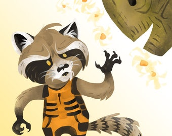 Rocket Raccoon and Groot/Guardians of the Galaxy Print