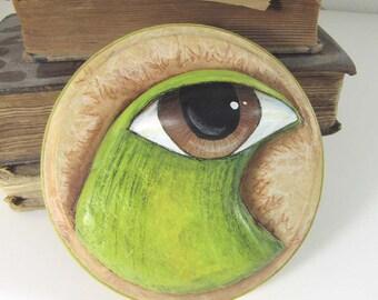 Art Sculpture - Big Eyed Bird - Paper Mache