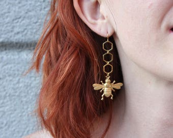 Brass Bumblebee and Honeycomb earrings