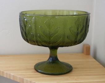 Vintage Avocado Green Glass FTD Floral Arrangement Bowl
