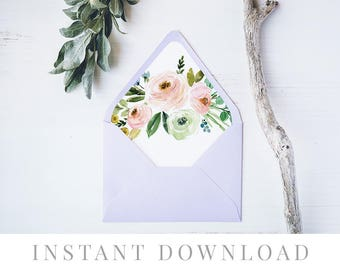 Printable Envelope Liner INSTANT DOWNLOAD, 11 Sizes, Liner template, Envelope Liners, DIY Envelope Liner, A7 , Square, Euro, Pearl & Pride
