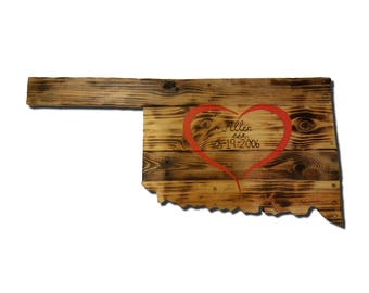 Wooden Oklahoma State Sign, Reclaimed Wood, Handmade, Lovers Lane