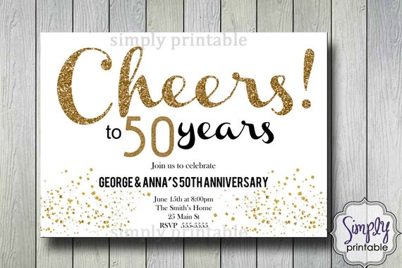 Golden Wedding Invitations Free: Wedding Anniversary Invitations Gold Cheers To 50 Years